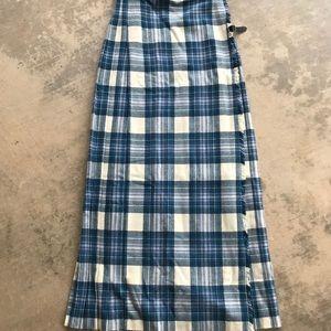 Vintage Scottish Tartan Blue Plaid Maxi Skirt